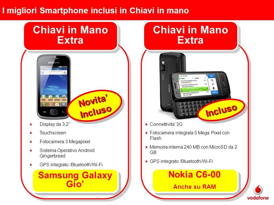 I migliori Smartphone inclusi in Chiavi in mano Chiavi in Mano Extra InclusoIncluso Connettivita 3G Fotocamera integrata 5 Mega Pixel con Flash Memoria interna 240 MB con MicroSD da 2 GB GPS integrato /Bluetooth/Wi-Fi Chiavi in Mano Extra Samsung Galaxy Gio NovitaInclusoNovitaIncluso Display da 3,2 Touchscreen Fotocamera 3 Megapixel Sistema Operativo Android Gingerbread GPS integrato /Bluetooth/Wi-Fi Nokia C6-00 Anche su RAM Nokia C6-00 Anche su RAM