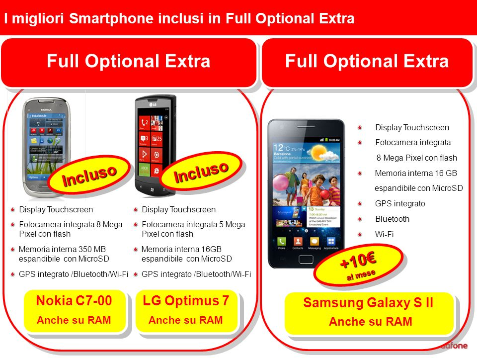 I migliori Smartphone inclusi in Full Optional Extra Full Optional Extra Nokia C7-00 Anche su RAM Nokia C7-00 Anche su RAM InclusoIncluso LG Optimus 7 Anche su RAM LG Optimus 7 Anche su RAM InclusoIncluso Display Touchscreen Fotocamera integrata 8 Mega Pixel con flash Memoria interna 350 MB espandibile con MicroSD GPS integrato /Bluetooth/Wi-Fi Display Touchscreen Fotocamera integrata 5 Mega Pixel con flash Memoria interna 16GB espandibile con MicroSD GPS integrato /Bluetooth/Wi-Fi Full Optional Extra Samsung Galaxy S II Anche su RAM Samsung Galaxy S II Anche su RAM +10 al mese +10 Display Touchscreen Fotocamera integrata 8 Mega Pixel con flash Memoria interna 16 GB espandibile con MicroSD GPS integrato Bluetooth Wi-Fi