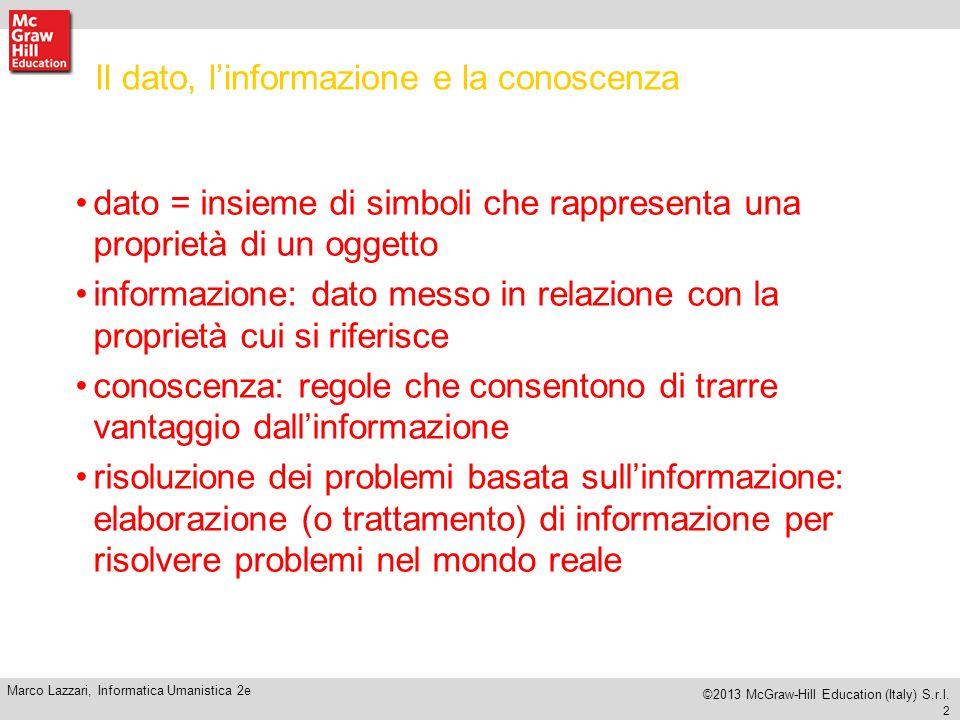 12 Marco Lazzari, Informatica Umanistica 2e ©2013 McGraw-Hill Education (Italy) S.r.l.