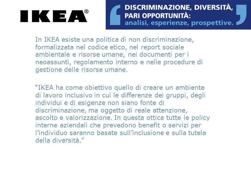 In IKEA esiste una politica di non discriminazione, formalizzata nel codice etico, nel report sociale ambientale e risorse umane, nei documenti per i