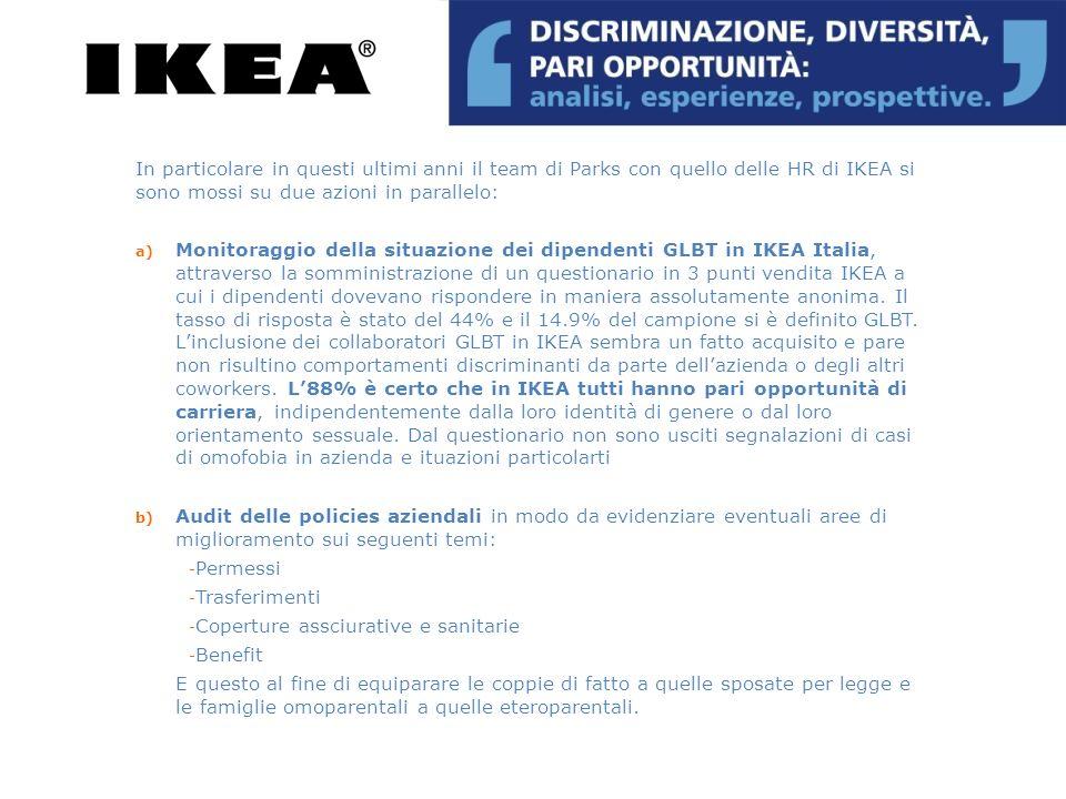 10 maggio 2011/Equiparazione di fatto In occasione della giornata mondiale contro lomofobia, IKEA Italia annuncia lestensione dei benefit destinati alle coppie eterosessuali sposate alle coppie di fatto siano esse eterosessuali o omosessuali Gli effetti più importanti di questa equiparazione si riverberano su tre aree principali : 1.