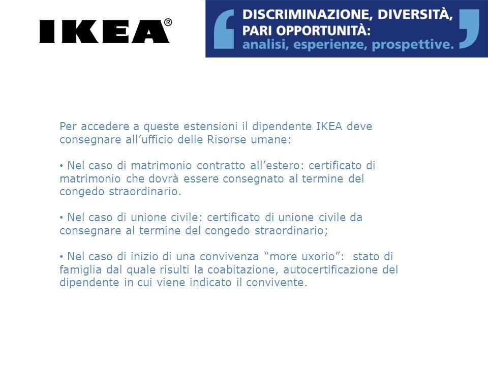 Per accedere a queste estensioni il dipendente IKEA deve consegnare allufficio delle Risorse umane: Nel caso di matrimonio contratto allestero: certif