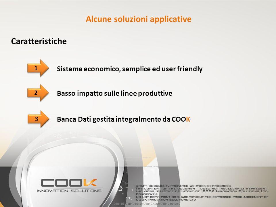 2 2 Banca Dati gestita integralmente da COOK 1 1 3 3 Sistema economico, semplice ed user friendly Caratteristiche Alcune soluzioni applicative Basso impatto sulle linee produttive