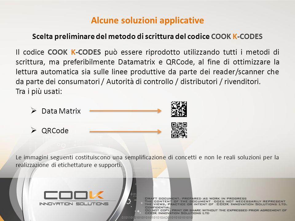 Scelta preliminare del metodo di scrittura del codice COOK K-CODES Il codice COOK K-CODES può essere riprodotto utilizzando tutti i metodi di scrittura, ma preferibilmente Datamatrix e QRCode, al fine di ottimizzare la lettura automatica sia sulle linee produttive da parte dei reader/scanner che da parte dei consumatori / Autorità di controllo / distributori / rivenditori.