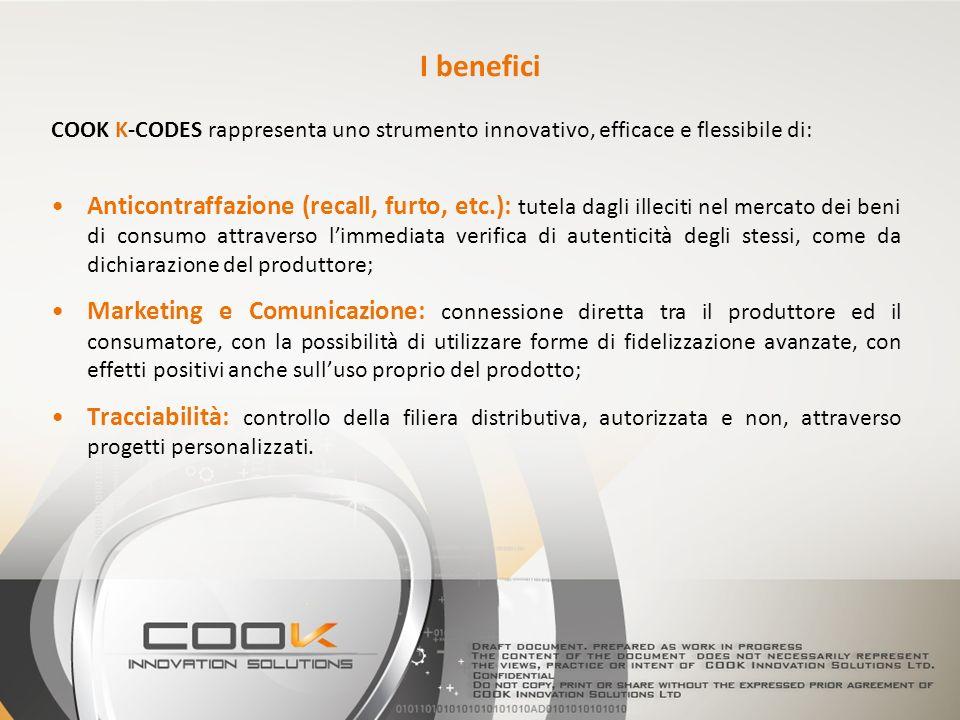 COOK K-CODES rappresenta uno strumento innovativo, efficace e flessibile di: Anticontraffazione (recall, furto, etc.): tutela dagli illeciti nel merca