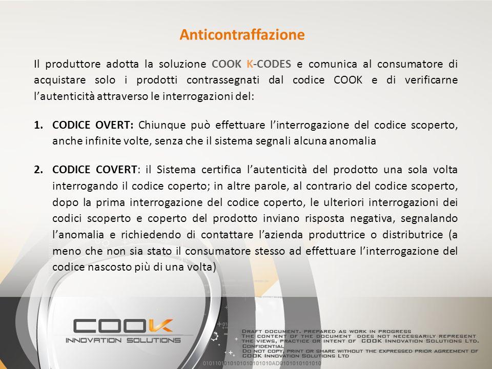 Il produttore adotta la soluzione COOK K-CODES e comunica al consumatore di acquistare solo i prodotti contrassegnati dal codice COOK e di verificarne