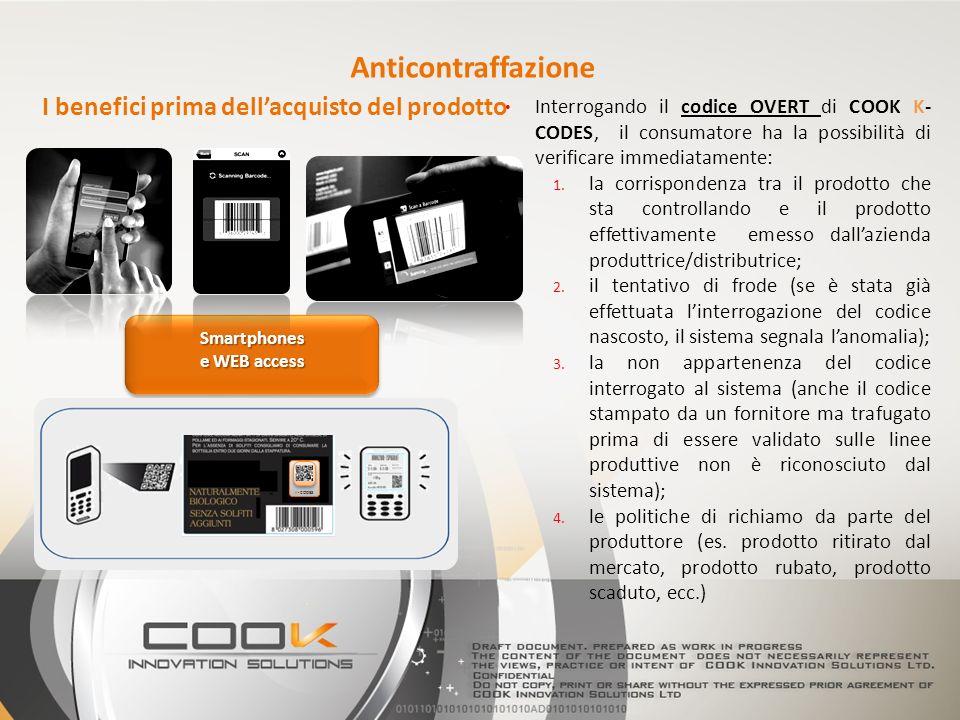 Interrogando il codice OVERT di COOK K- CODES, il consumatore ha la possibilità di verificare immediatamente: 1. la corrispondenza tra il prodotto che