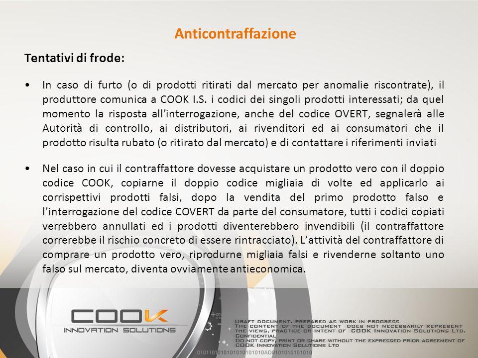Tentativi di frode: In caso di furto (o di prodotti ritirati dal mercato per anomalie riscontrate), il produttore comunica a COOK I.S. i codici dei si