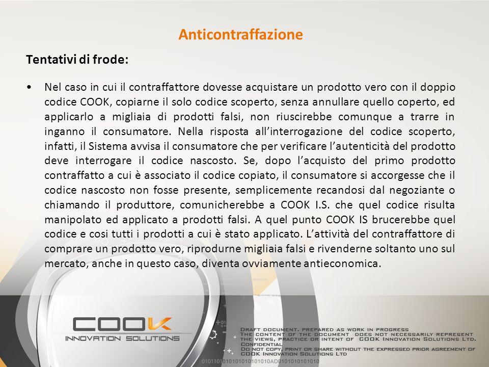 Tentativi di frode: Nel caso in cui il contraffattore dovesse acquistare un prodotto vero con il doppio codice COOK, copiarne il solo codice scoperto,