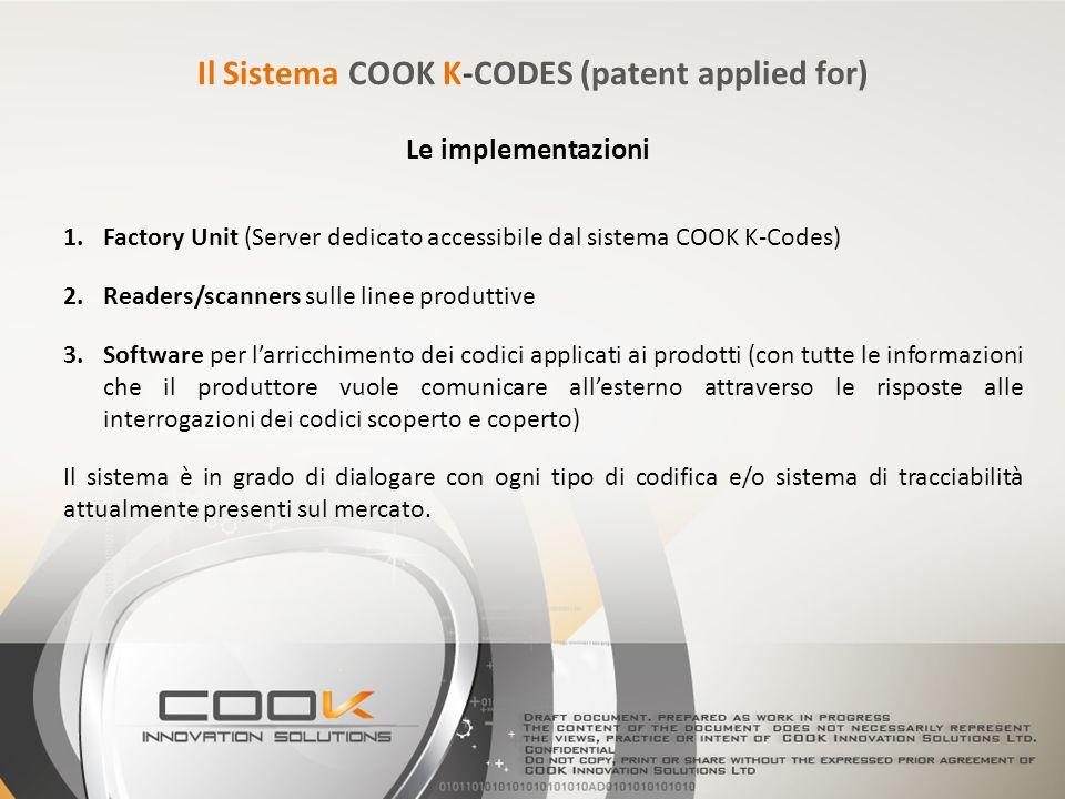 1.Factory Unit (Server dedicato accessibile dal sistema COOK K-Codes) 2.Readers/scanners sulle linee produttive 3.Software per larricchimento dei codi