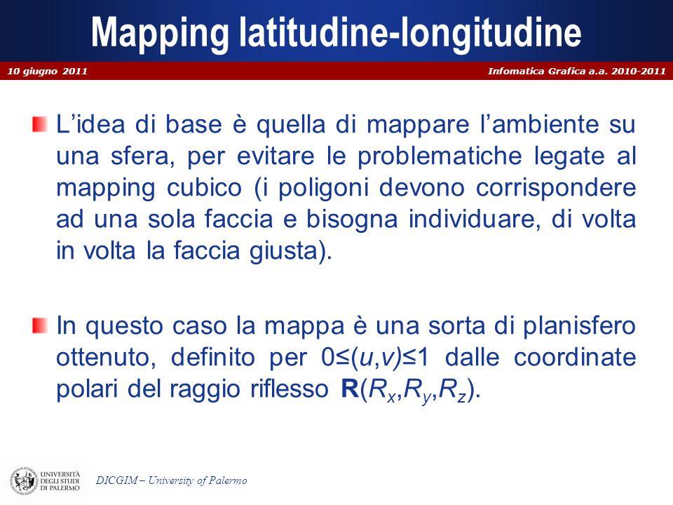 Infomatica Grafica a.a. 2010-2011 DICGIM – University of Palermo Mapping latitudine-longitudine Lidea di base è quella di mappare lambiente su una sfe