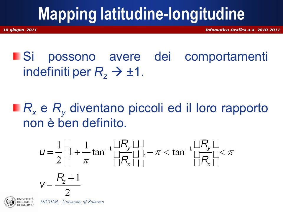 Infomatica Grafica a.a. 2010-2011 DICGIM – University of Palermo Mapping latitudine-longitudine Si possono avere dei comportamenti indefiniti per R z