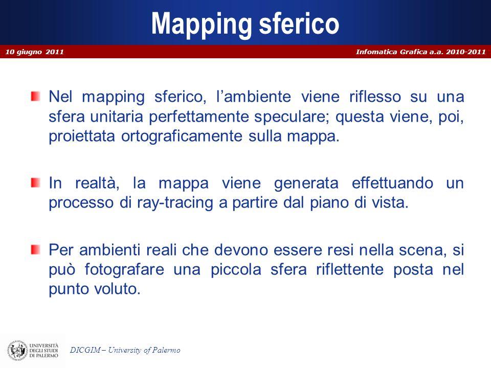 Infomatica Grafica a.a. 2010-2011 DICGIM – University of Palermo Mapping sferico Nel mapping sferico, lambiente viene riflesso su una sfera unitaria p