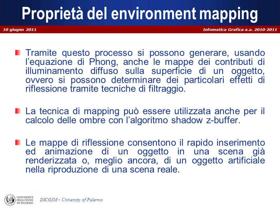 Infomatica Grafica a.a. 2010-2011 DICGIM – University of Palermo Proprietà del environment mapping Tramite questo processo si possono generare, usando