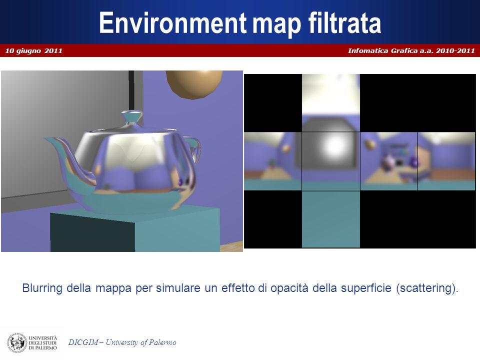 Infomatica Grafica a.a. 2010-2011 DICGIM – University of Palermo Environment map filtrata Blurring della mappa per simulare un effetto di opacità dell