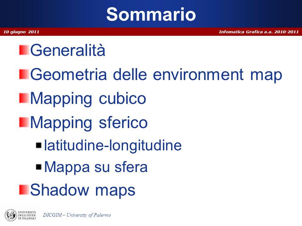 Infomatica Grafica a.a. 2010-2011 DICGIM – University of Palermo Sommario Generalità Geometria delle environment map Mapping cubico Mapping sferico la