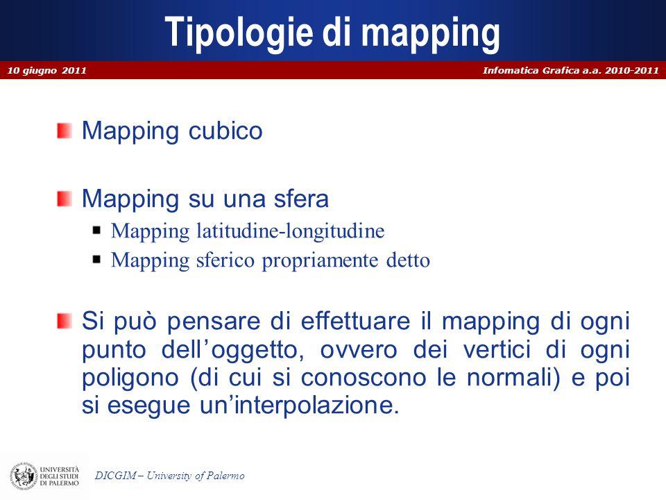 Infomatica Grafica a.a. 2010-2011 DICGIM – University of Palermo Tipologie di mapping Mapping cubico Mapping su una sfera Mapping latitudine-longitudi