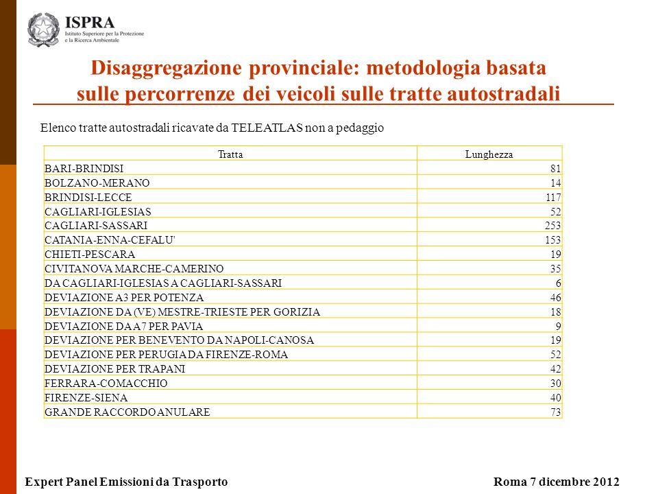 Elenco tratte autostradali ricavate da TELEATLAS non a pedaggio Expert Panel Emissioni da TrasportoRoma 7 dicembre 2012 TrattaLunghezza BARI-BRINDISI81 BOLZANO-MERANO14 BRINDISI-LECCE117 CAGLIARI-IGLESIAS52 CAGLIARI-SASSARI253 CATANIA-ENNA-CEFALU 153 CHIETI-PESCARA19 CIVITANOVA MARCHE-CAMERINO35 DA CAGLIARI-IGLESIAS A CAGLIARI-SASSARI6 DEVIAZIONE A3 PER POTENZA46 DEVIAZIONE DA (VE) MESTRE-TRIESTE PER GORIZIA18 DEVIAZIONE DA A7 PER PAVIA9 DEVIAZIONE PER BENEVENTO DA NAPOLI-CANOSA19 DEVIAZIONE PER PERUGIA DA FIRENZE-ROMA52 DEVIAZIONE PER TRAPANI42 FERRARA-COMACCHIO30 FIRENZE-SIENA40 GRANDE RACCORDO ANULARE73