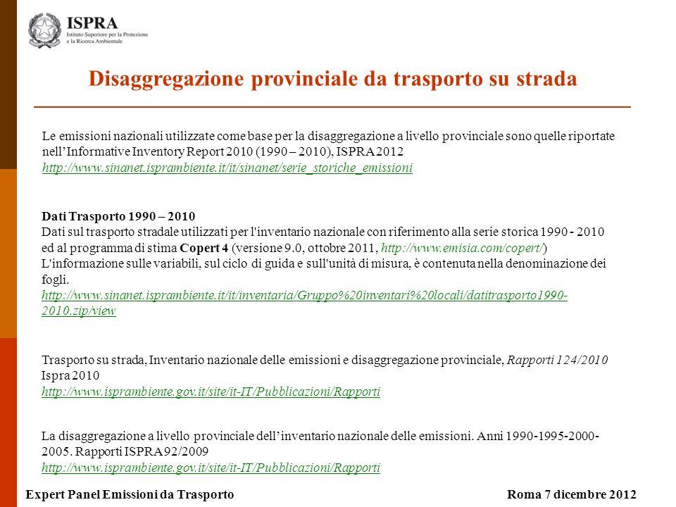 Roma 7 dicembre 2012Expert Panel Emissioni da Trasporto Dati Trasporto 1990 – 2010 Dati sul trasporto stradale utilizzati per l'inventario nazionale c