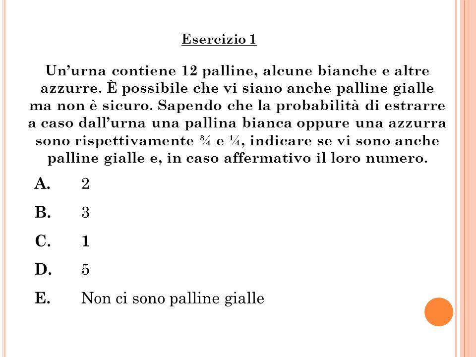 Unurna contiene 12 palline, alcune bianche e altre azzurre. È possibile che vi siano anche palline gialle ma non è sicuro. Sapendo che la probabilità
