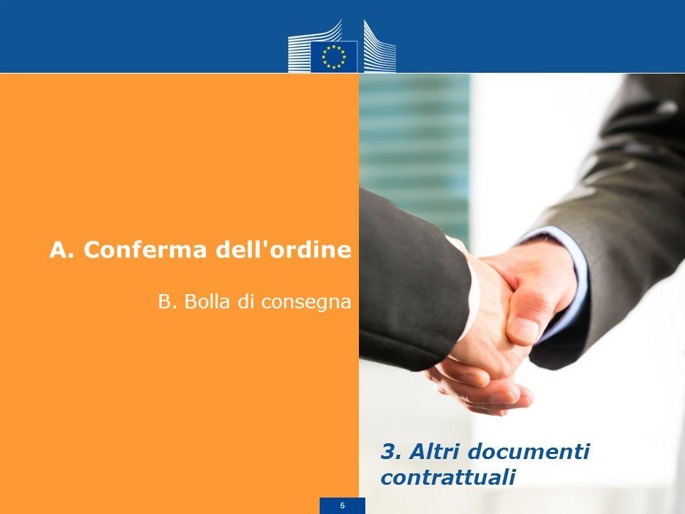 A.Conferma dell'ordine B. Bolla di consegna 3. Altri documenti contrattuali 5