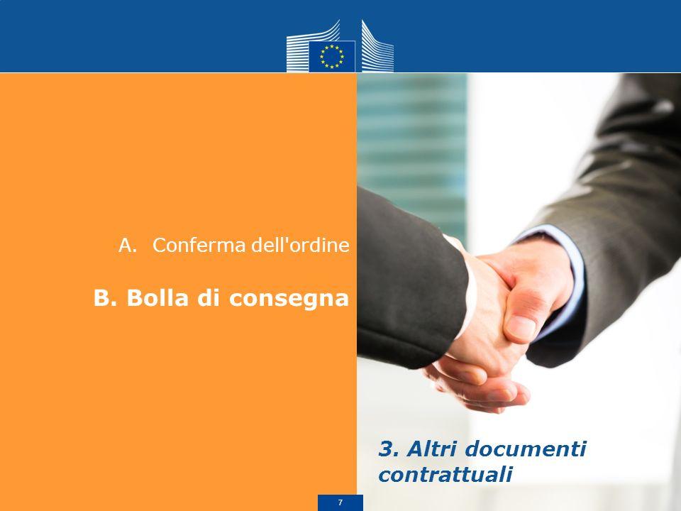 A.Conferma dell'ordine B. Bolla di consegna 3. Altri documenti contrattuali 7