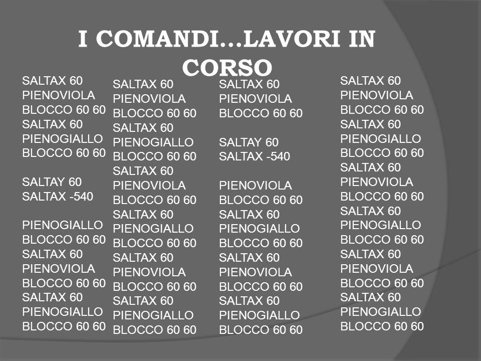 I COMANDI…LAVORI IN CORSO SALTAX 60 PIENOVIOLA BLOCCO 60 60 SALTAX 60 PIENOGIALLO BLOCCO 60 60 SALTAY 60 SALTAX -540 PIENOGIALLO BLOCCO 60 60 SALTAX 6