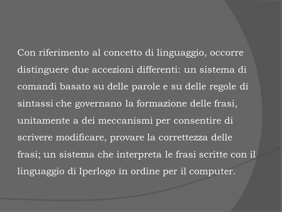 Con riferimento al concetto di linguaggio, occorre distinguere due accezioni differenti: un sistema di comandi basato su delle parole e su delle regol