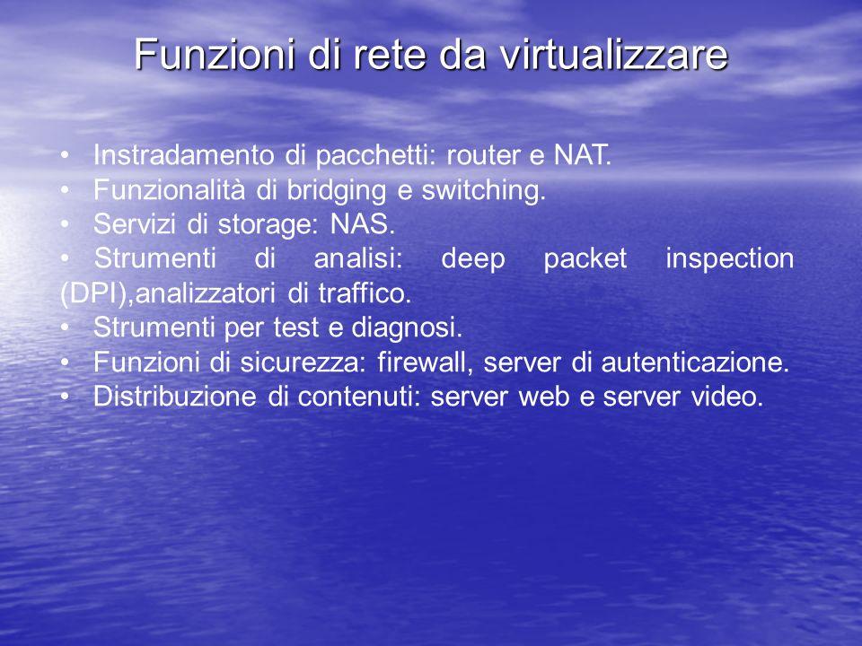 Funzioni di rete da virtualizzare Instradamento di pacchetti: router e NAT. Funzionalità di bridging e switching. Servizi di storage: NAS. Strumenti d