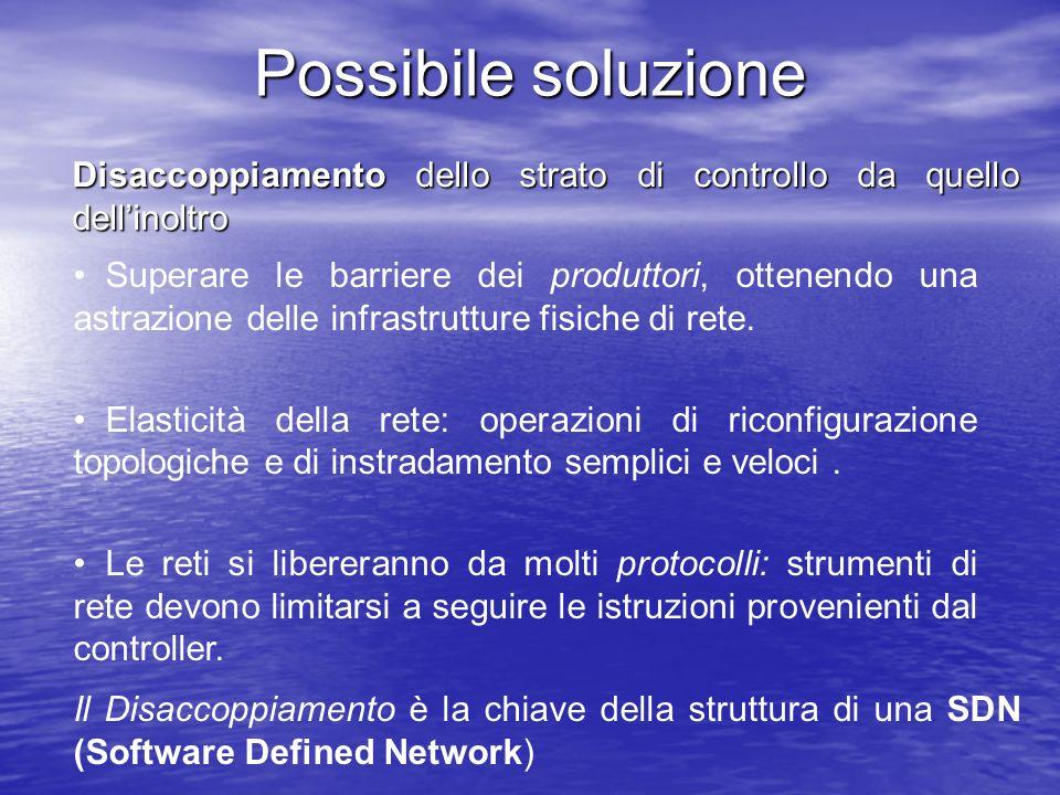 Possibile soluzione Disaccoppiamento dello strato di controllo da quello dellinoltro Superare le barriere dei produttori, ottenendo una astrazione del