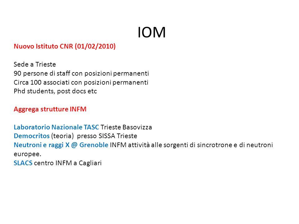 IOM Nuovo Istituto CNR (01/02/2010) Sede a Trieste 90 persone di staff con posizioni permanenti Circa 100 associati con posizioni permanenti Phd stude