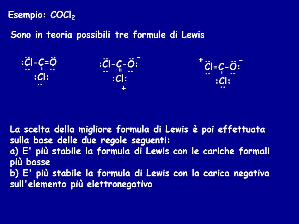 Esempio: COCl 2 Sono in teoria possibili tre formule di Lewis :Cl-C=O :Cl: - : : : : : - + :Cl-C-O: :Cl: = : : : : : -+ Cl=C-O: :Cl: - : : : : La scel