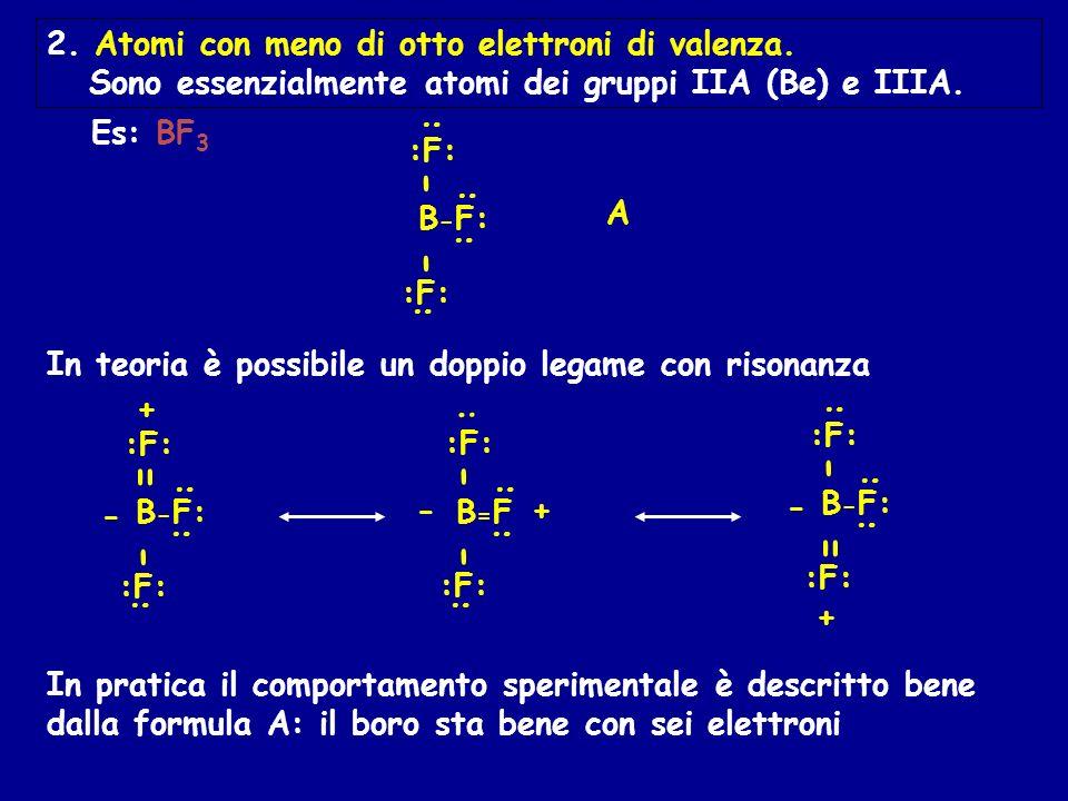 2. Atomi con meno di otto elettroni di valenza. Sono essenzialmente atomi dei gruppi IIA (Be) e IIIA. Es: BF 3 In pratica il comportamento sperimental