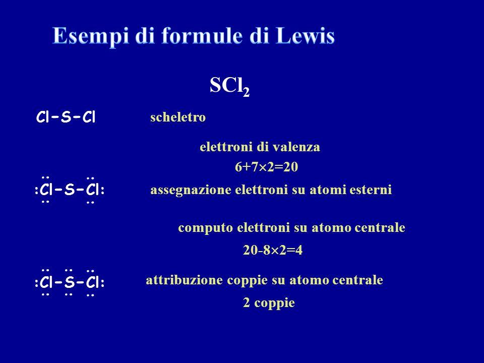 : : : : :Cl - S - Cl: : : Cl - S - Cl SCl 2 elettroni di valenza scheletro assegnazione elettroni su atomi esterni computo elettroni su atomo centrale