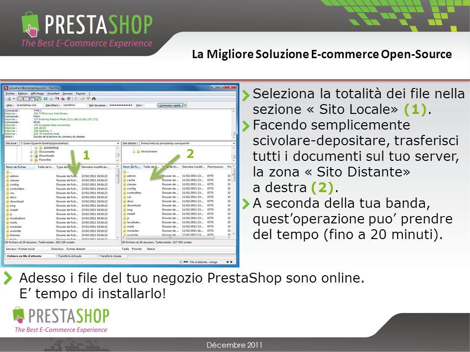 La Migliore Soluzione E-commerce Open-Source Décembre 2011 Seleziona la totalità dei file nella sezione « Sito Locale» (1).