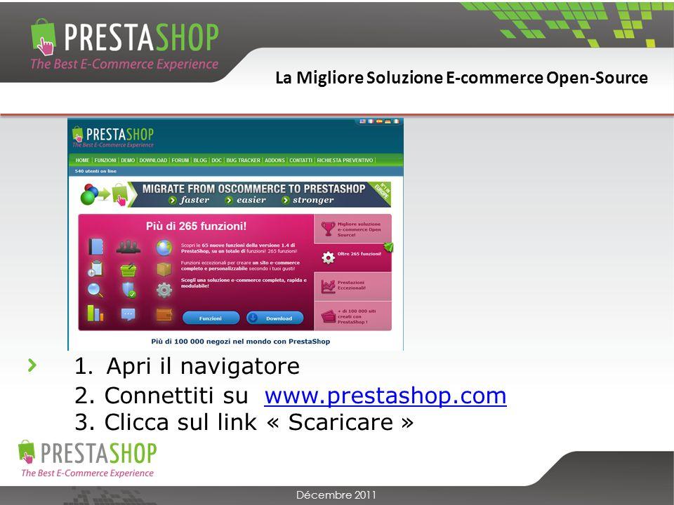 La Migliore Soluzione E-commerce Open-Source Décembre 2011 Nome del dominio : è lindirizzo web che permetterà a qualsiasi utente di visitare il tuo negozio online.