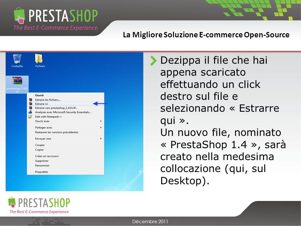 La Migliore Soluzione E-commerce Open-Source Décembre 2011 Questa seconda pagina ti permette di collegare PrestaShop alla base dei dati.