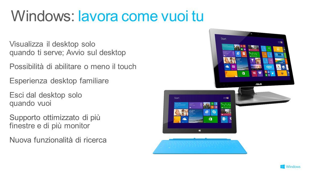 Visualizza il desktop solo quando ti serve; Avvio sul desktop Possibilità di abilitare o meno il touch Esperienza desktop familiare Esci dal desktop s