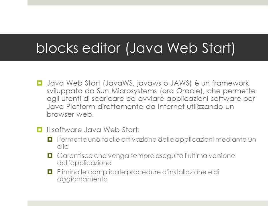 blocks editor (Java Web Start) Java Web Start (JavaWS, javaws o JAWS) è un framework sviluppato da Sun Microsystems (ora Oracle), che permette agli ut
