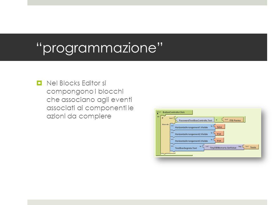 programmazione Nel Blocks Editor si compongono i blocchi che associano agli eventi associati ai componenti le azioni da compiere