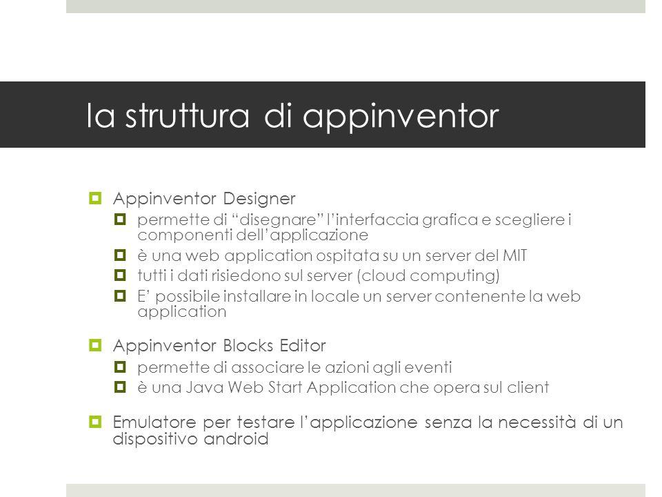 la struttura di appinventor Appinventor Designer permette di disegnare linterfaccia grafica e scegliere i componenti dellapplicazione è una web applic
