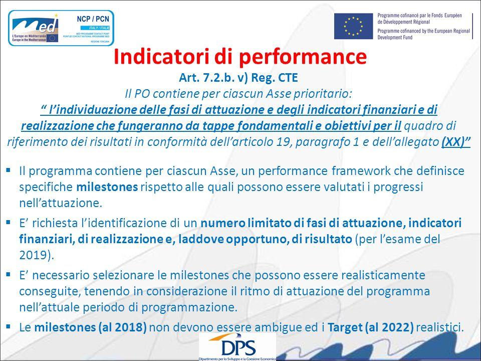 Art. 7.2.b. v) Reg. CTE Il PO contiene per ciascun Asse prioritario: lindividuazione delle fasi di attuazione e degli indicatori finanziari e di reali