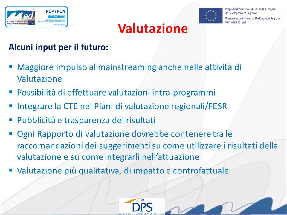 Alcuni input per il futuro: Maggiore impulso al mainstreaming anche nelle attività di Valutazione Possibilità di effettuare valutazioni intra-programm