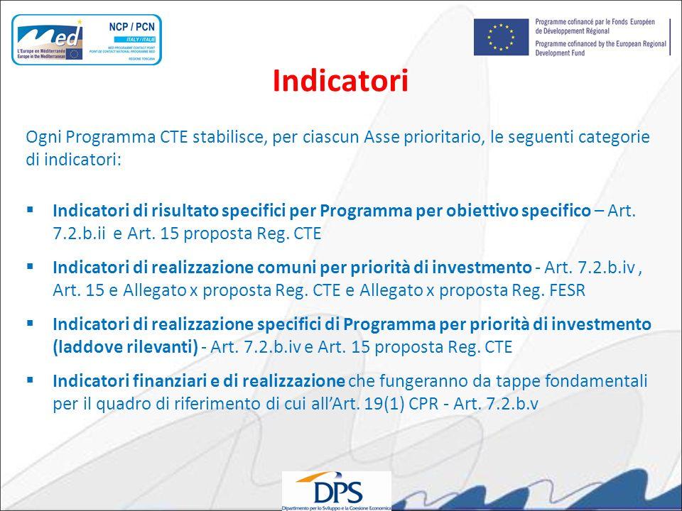 Ogni Programma CTE stabilisce, per ciascun Asse prioritario, le seguenti categorie di indicatori: Indicatori di risultato specifici per Programma per