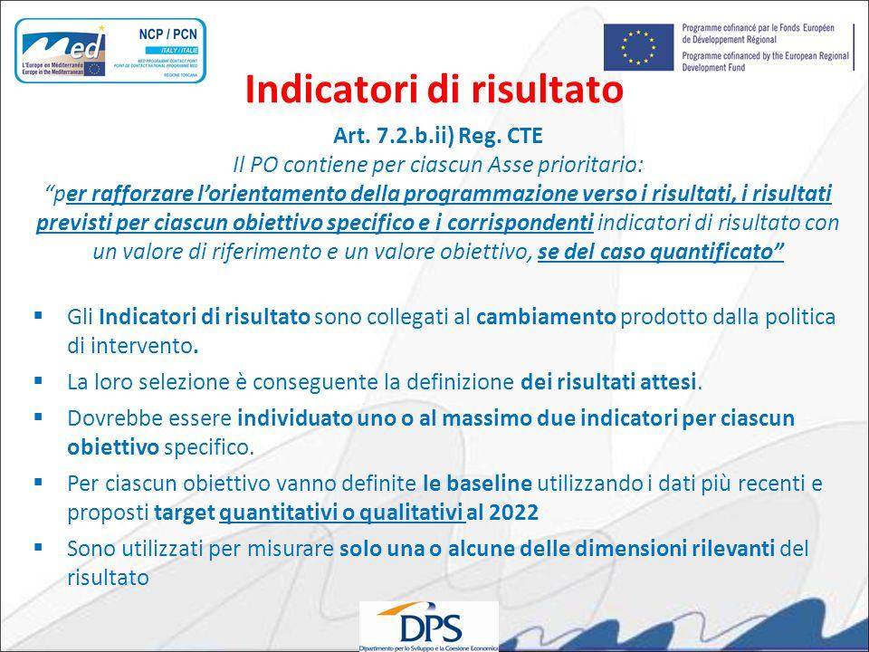 Art. 7.2.b.ii) Reg. CTE Il PO contiene per ciascun Asse prioritario: per rafforzare lorientamento della programmazione verso i risultati, i risultati