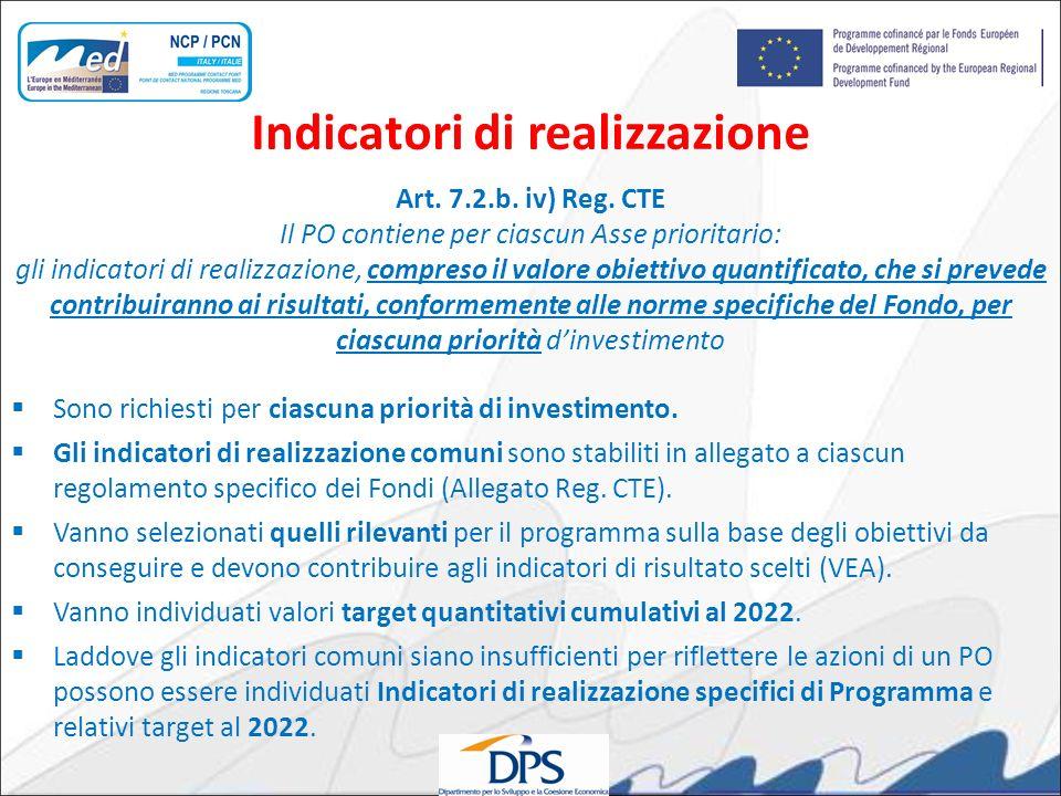 Art. 7.2.b. iv) Reg. CTE Il PO contiene per ciascun Asse prioritario: gli indicatori di realizzazione, compreso il valore obiettivo quantificato, che