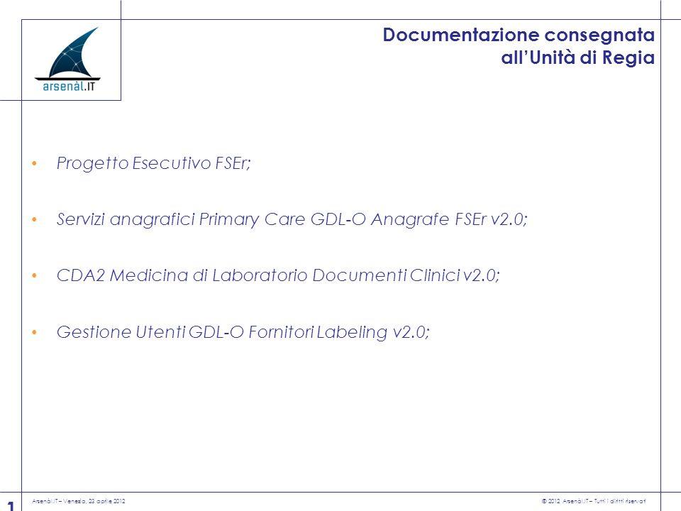 Arsenàl.IT – Venezia, 23 aprile 2012 © 2012 Arsenàl.IT – Tutti i diritti riservati 11 Documentazione consegnata allUnità di Regia Progetto Esecutivo F
