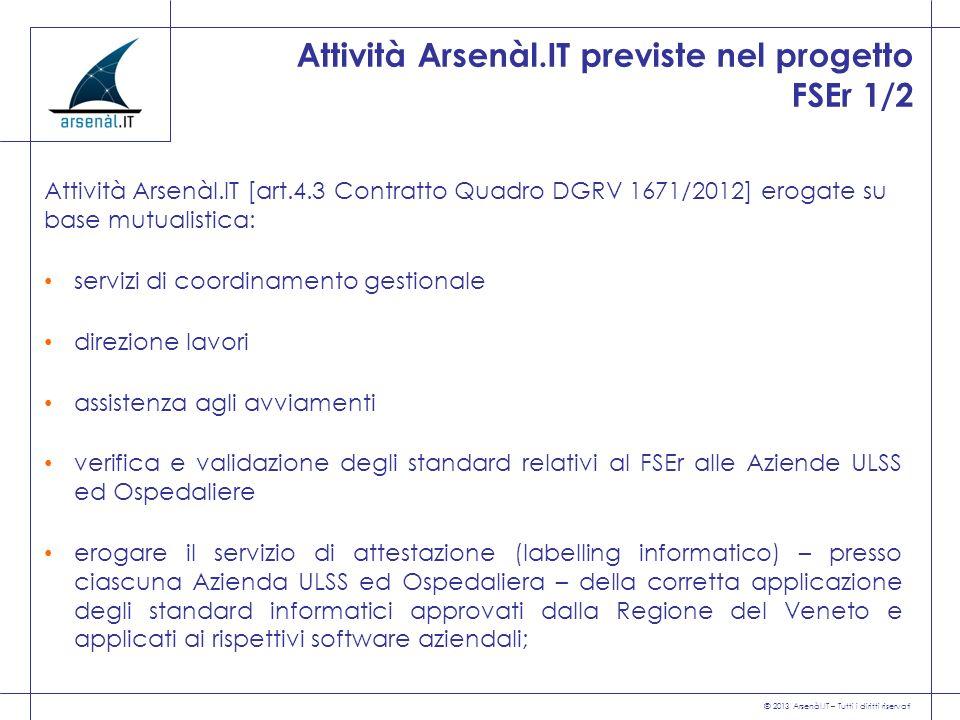 © 2013 Arsenàl.IT – Tutti i diritti riservati Attività Arsenàl.IT previste nel progetto FSEr 1/2 Attività Arsenàl.IT [art.4.3 Contratto Quadro DGRV 16