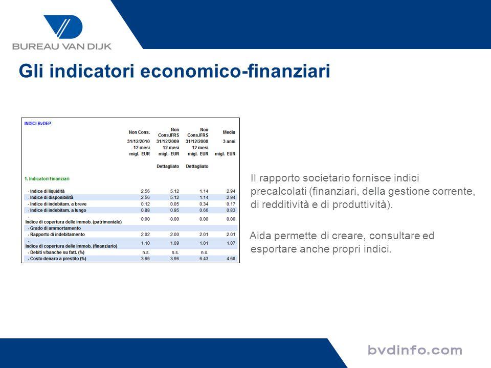 Gli indicatori economico-finanziari Il rapporto societario fornisce indici precalcolati (finanziari, della gestione corrente, di redditività e di prod