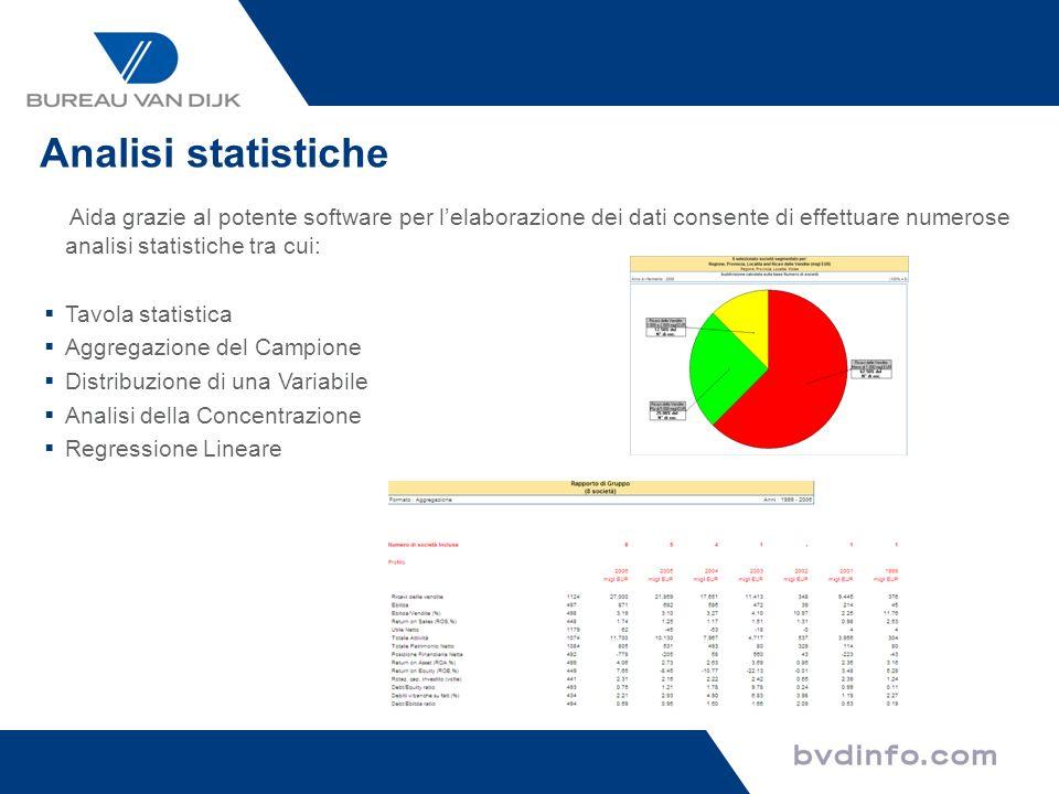 Analisi statistiche Aida grazie al potente software per lelaborazione dei dati consente di effettuare numerose analisi statistiche tra cui: Tavola sta
